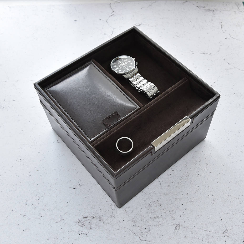 Mens Chocolate Brown Valet And Watch Box