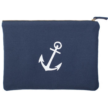 blue and White Wash Bag with White Anchor