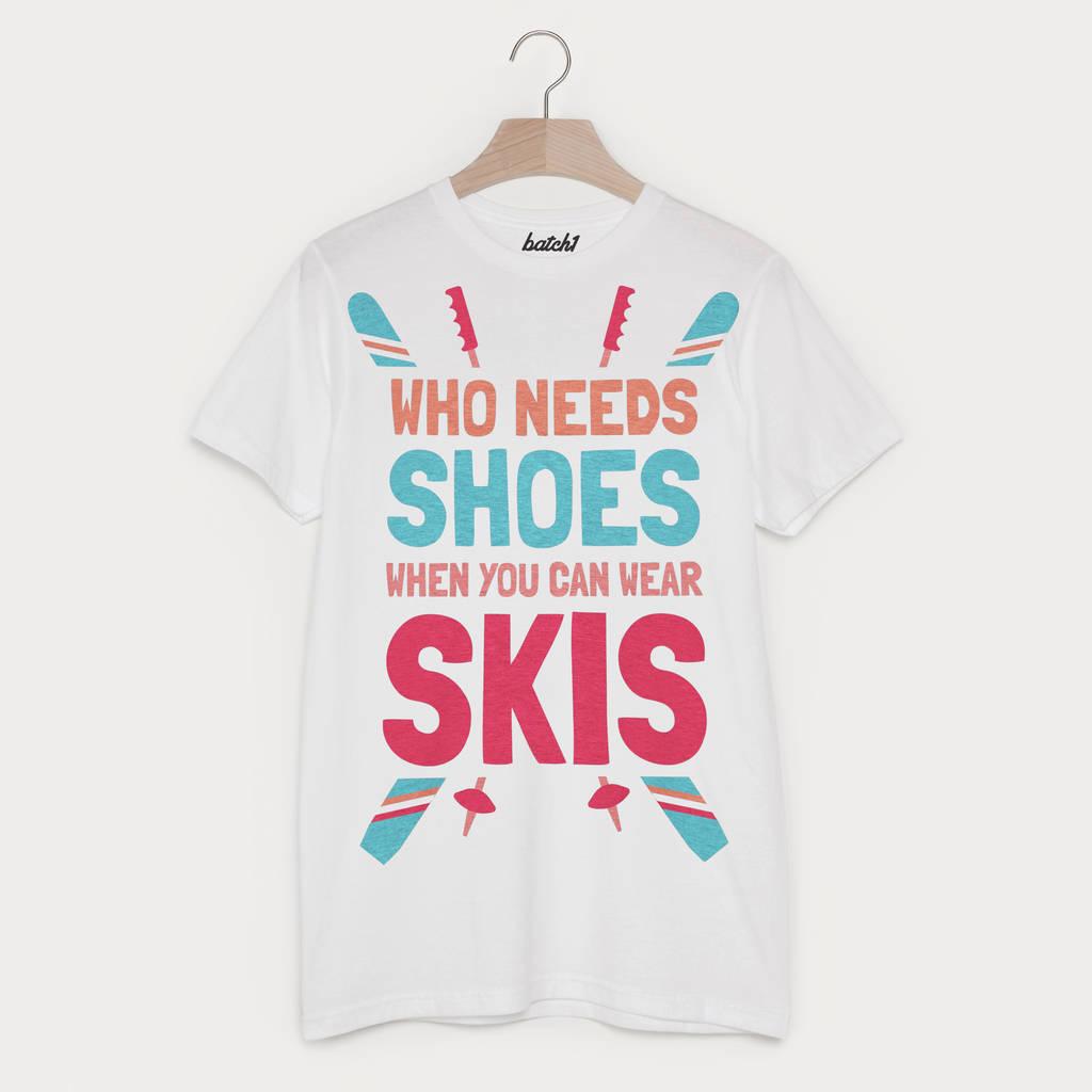 Wear Skis Not Shoes Men's Retro Après Ski T Shirt
