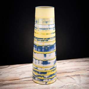 Handmade Ceramic Yellow Stem Vase Coast Series - tableware