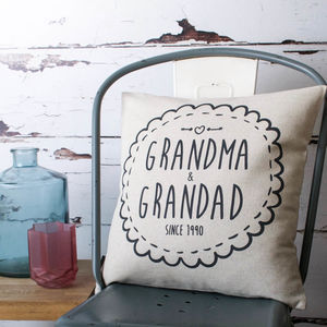 'Grandma And Grandad' Cushion Cover - 4th anniversary: linen