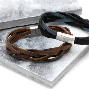 Men's Personalised Soft Plaited Leather Bracelet - bracelets