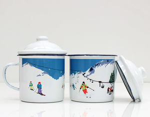 Enamel Mug With Ski Design