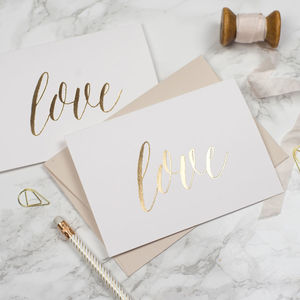 Gold Foil Stamped Valentine's Card 'Love'