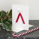 Christmas Card With Santa Hat Ribbon