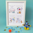 Personalised New Baby Print Blue A4 print