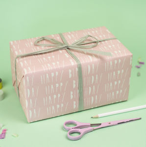 Happy Birthday Pink Wrapping Paper - wrapping paper