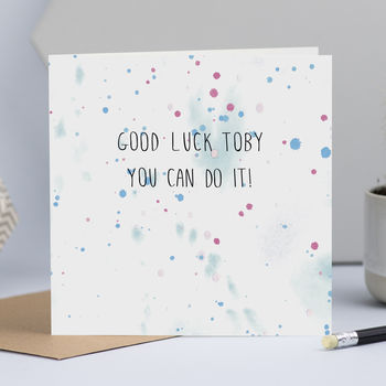 Personalised Good Luck Card With Watercolour Background