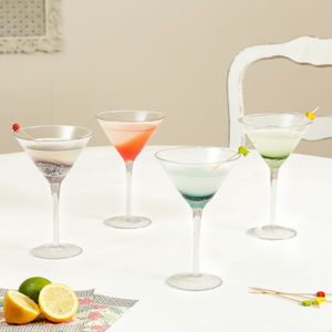 Luxury Colourful 'Fizz' Handblown Cocktail Glasses - tableware
