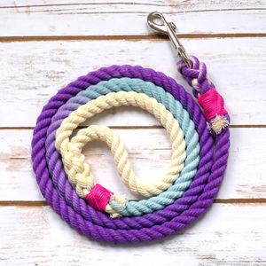 Hand Dyed Multi Coloured Rope Dog Lead - dogs