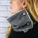 Grey Birdseye Yorkshire Tweed Neckwarmer Scarf
