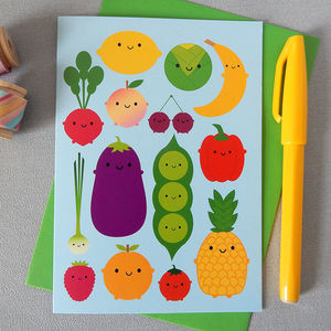 Five A Day Fruit And Vegetables Card
