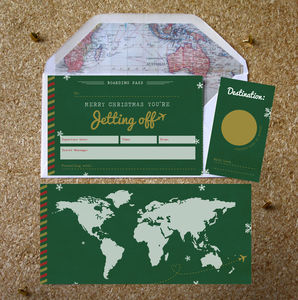 Christmas Jetting Off Scratch Boarding Pass - cards