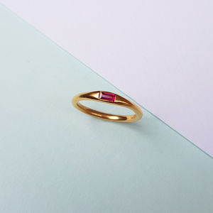 Ruby And Sapphire Baguette Ring - semi precious stones