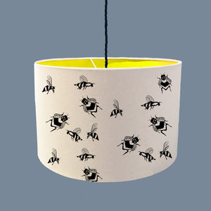 Bumble Bee Lampshade With A Range Of Colour Linings