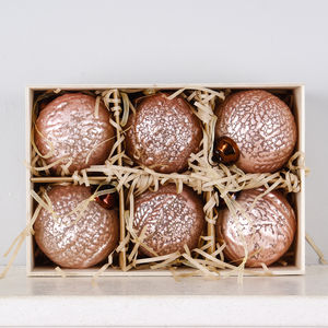 Box Of Six Blush Rose Glass Baubles