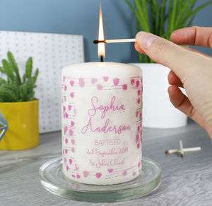 Patterned Christening Candle For Boys And Girls - candles & home fragrance