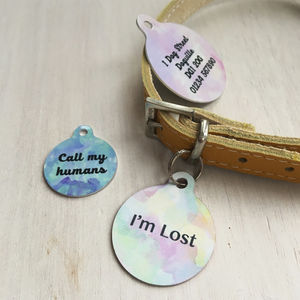 Watercolour Pet Name ID Tag Personalised - new in pets