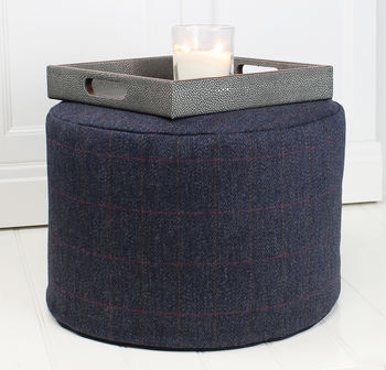 Navy And Red Check Wool Foot Pouffe