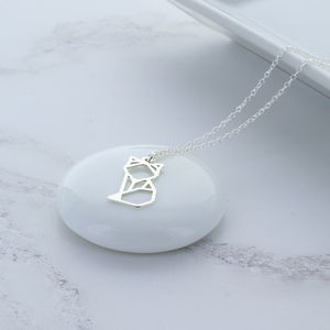 Origami Fox Sterling Silver Necklace
