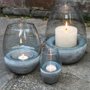 Blue Glass And Concrete Tea Light Holder