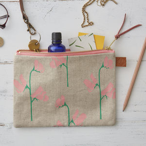 Sweet Peas Floral Linen Zipped Purse