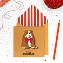 Handmade Bulldog Personalised Christmas Card Or Pack