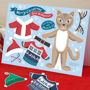 Dress Up Santa Paws Cat Christmas Card