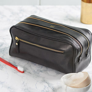 Leather Washbag - frequent traveller