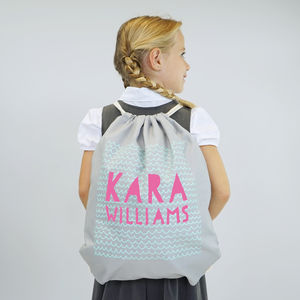 Personalised Pastel Patterned Gym Bag - bags, purses & wallets