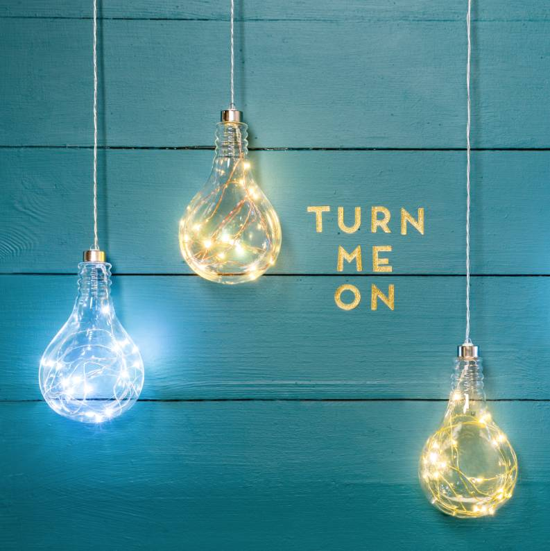 Hanging Led Sparkle Light Bulb By The