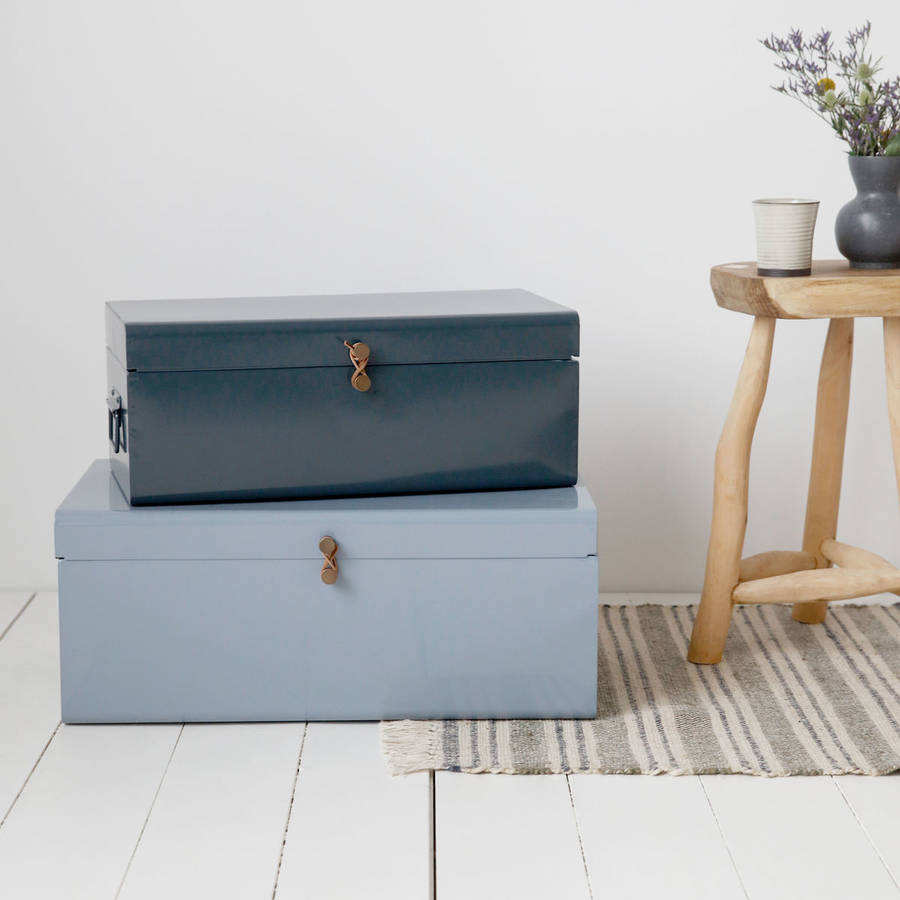 Charmant Set Of Two Metal Storage Trunks