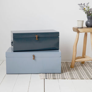 Set Of Two Metal Storage Trunks