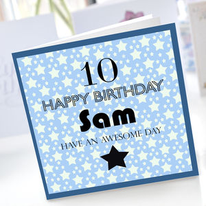 Boys 10th Star Birthday Card