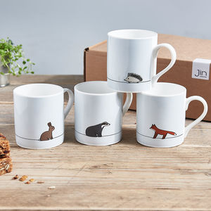 Woodland Collection Mugs, Set Of Four - tableware