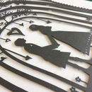 Close up of darkest grey papercut with extra personalisation