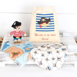 Baby Pirate Bibs And Rattle In Personalised Bag