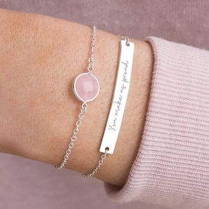 Alexa Personalised Birthstone And Bar Bracelet Set - gifts for her