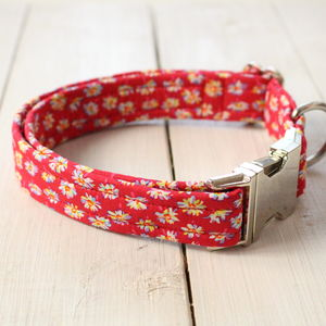 Mildred Liberty Fabric Dog Collar - walking