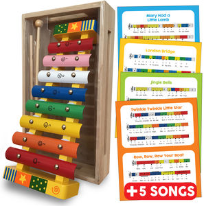 Wooden Xylophone With Song Sheets And Box