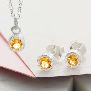 Citrine November Birthstone Silver Jewellery Gift Set - necklaces & pendants