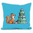Cute Fox Christmas Velour Cushion