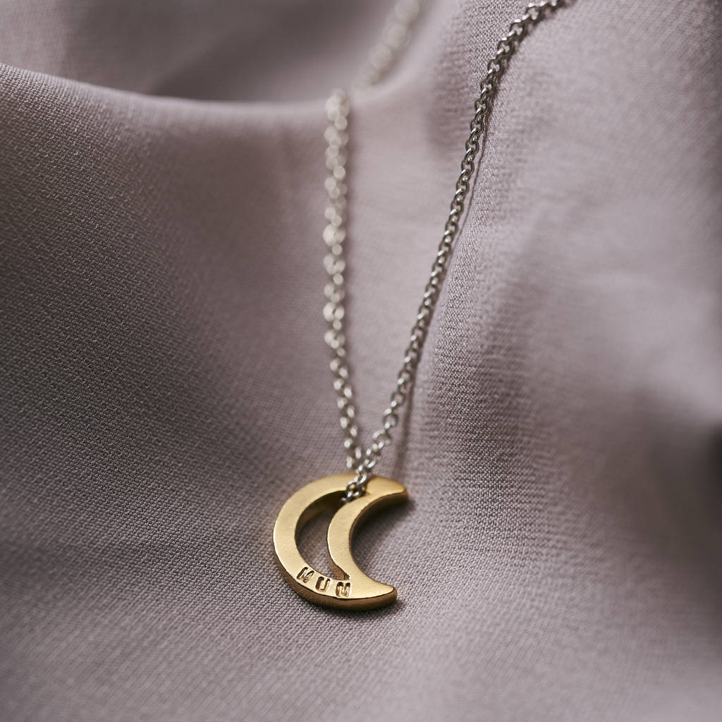 crescent gold pendant necklace moon gld