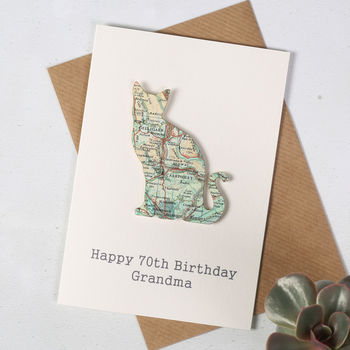 Personalised Map Location Cat Birthday Card