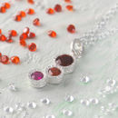 Birthstone Pink Ruby Garnet Silver Necklace