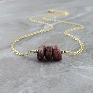 Ruby Necklace With Natural Raw Ruby Nuggets