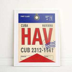 Personalised Havana Vintage Luggage Tag Print - posters & prints