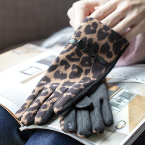 Leopards Suede Soft Fleece Lining Touch Screen Gloves