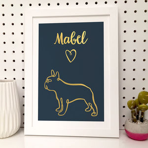 Personalised Foil Frenchie Print - pet-lover