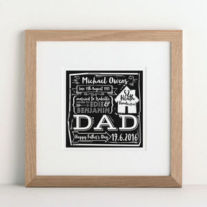 My Dad Woodcut Print - gifts for fathers